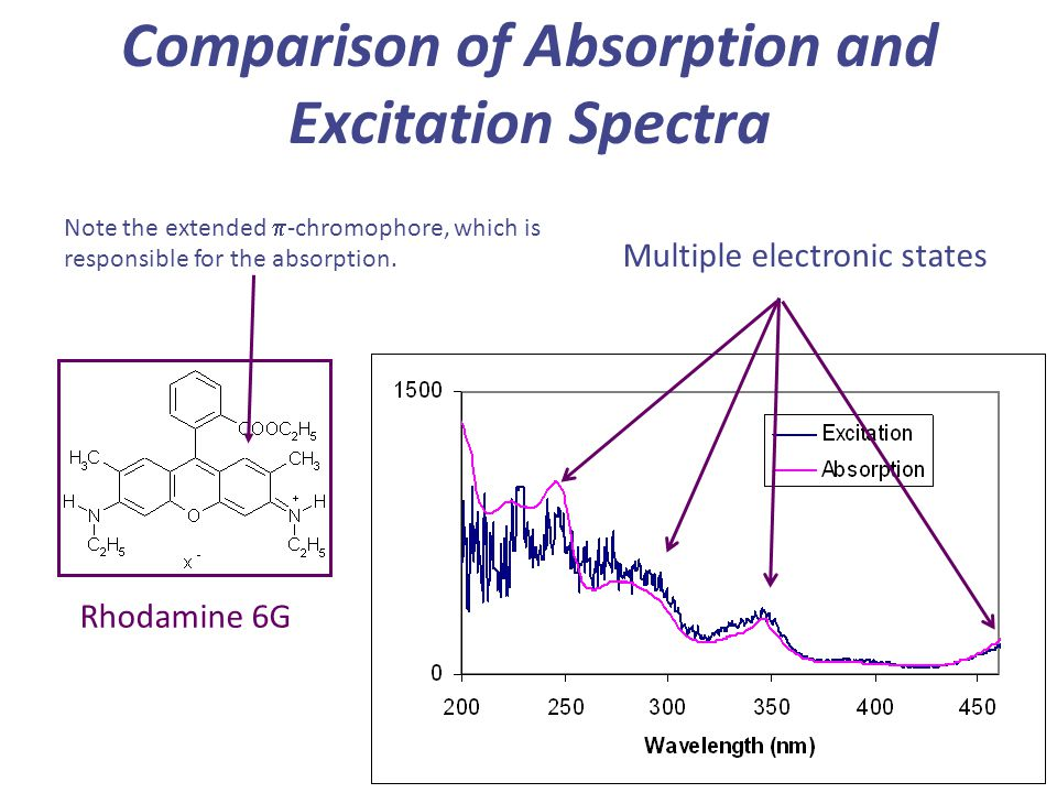 Comparison of Absorption and Excitation Spectra