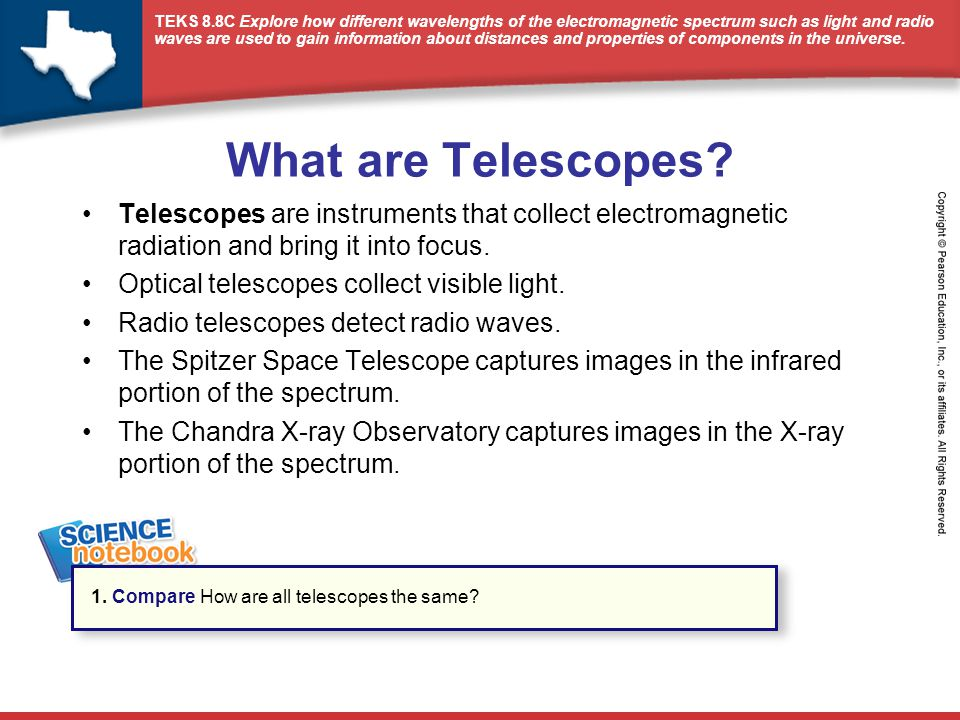 What are Telescopes Telescopes are instruments that collect electromagnetic radiation and bring it into focus.