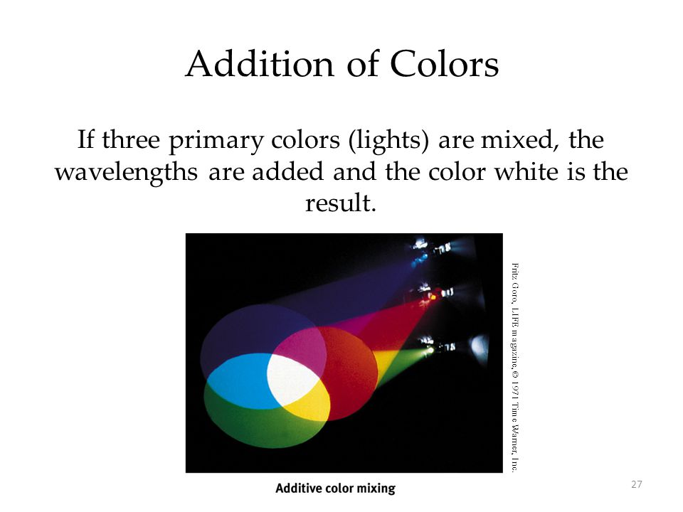 Addition of Colors If three primary colors (lights) are mixed, the wavelengths are added and the color white is the result.