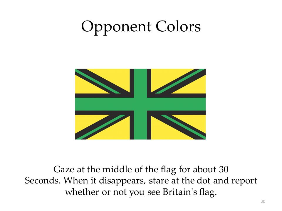Opponent Colors Gaze at the middle of the flag for about 30