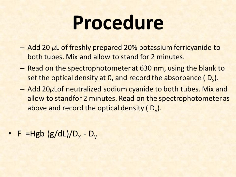 Procedure F =Hgb (g/dL)/Dx - Dy
