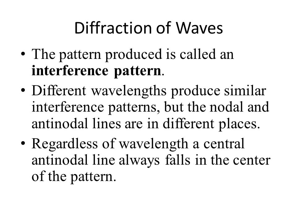 Diffraction of Waves The pattern produced is called an interference pattern.