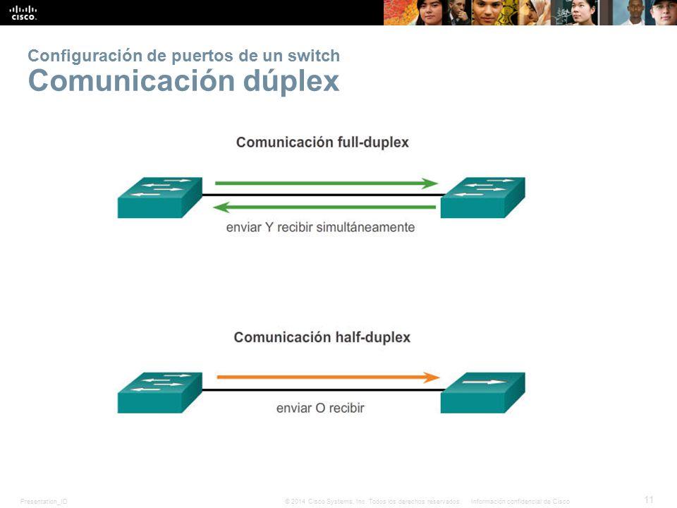 Configuración de puertos de un switch Comunicación dúplex