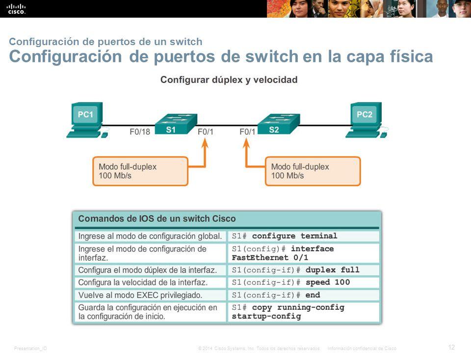 Configuración de puertos de un switch Configuración de puertos de switch en la capa física