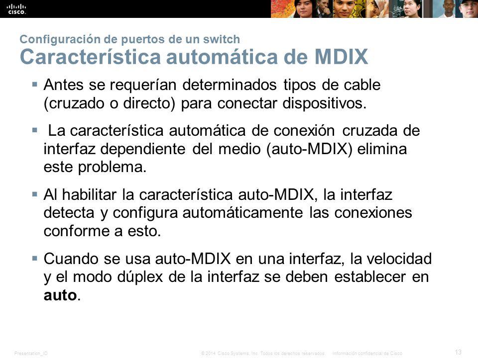 Configuración de puertos de un switch Característica automática de MDIX