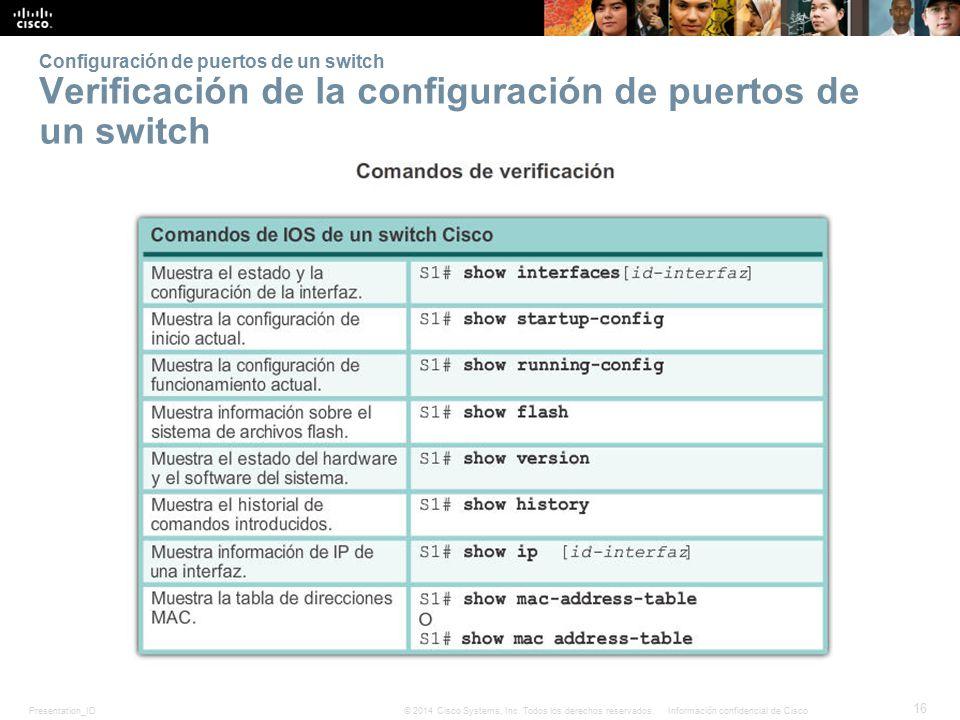 Configuración de puertos de un switch Verificación de la configuración de puertos de un switch