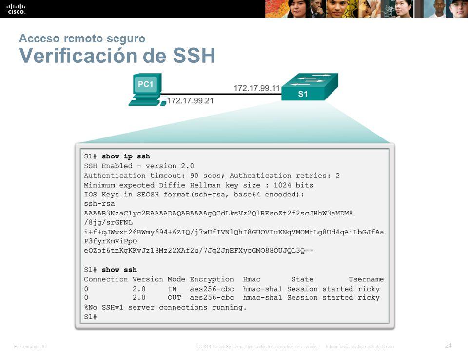 Acceso remoto seguro Verificación de SSH