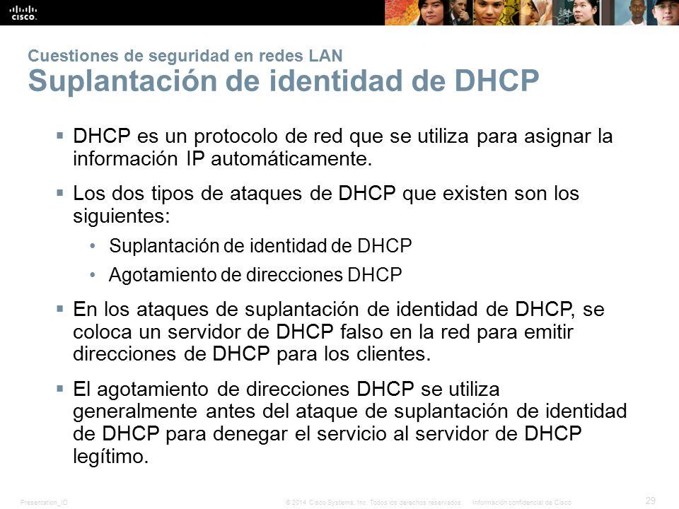 Cuestiones de seguridad en redes LAN Suplantación de identidad de DHCP