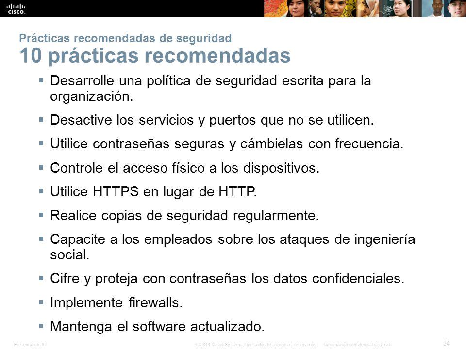 Prácticas recomendadas de seguridad 10 prácticas recomendadas