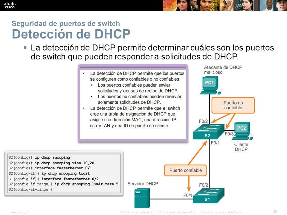 Seguridad de puertos de switch Detección de DHCP