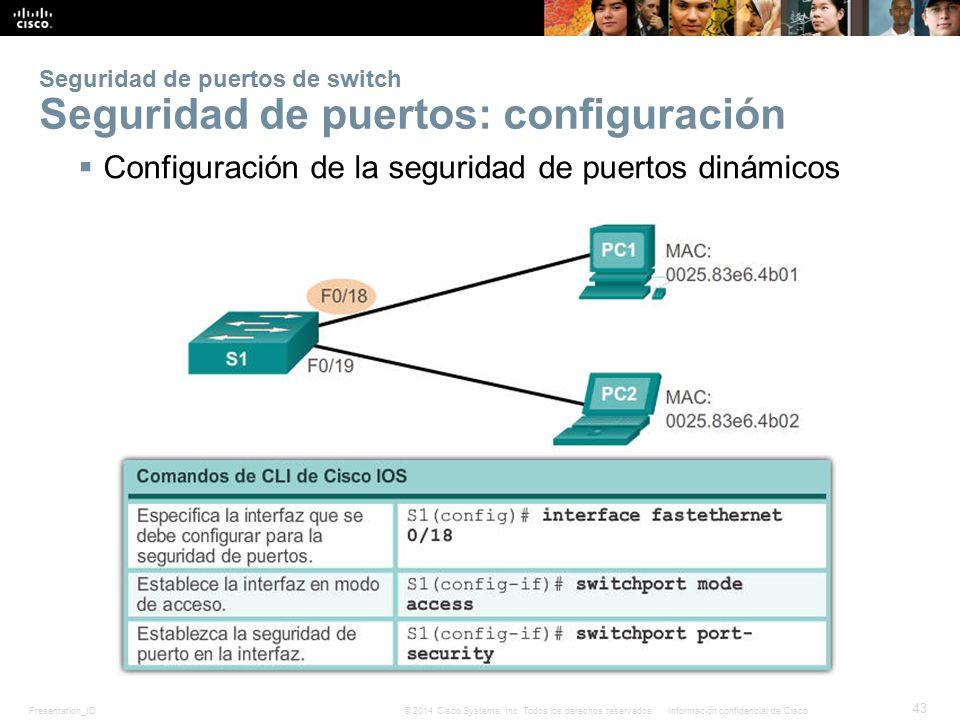 Seguridad de puertos de switch Seguridad de puertos: configuración