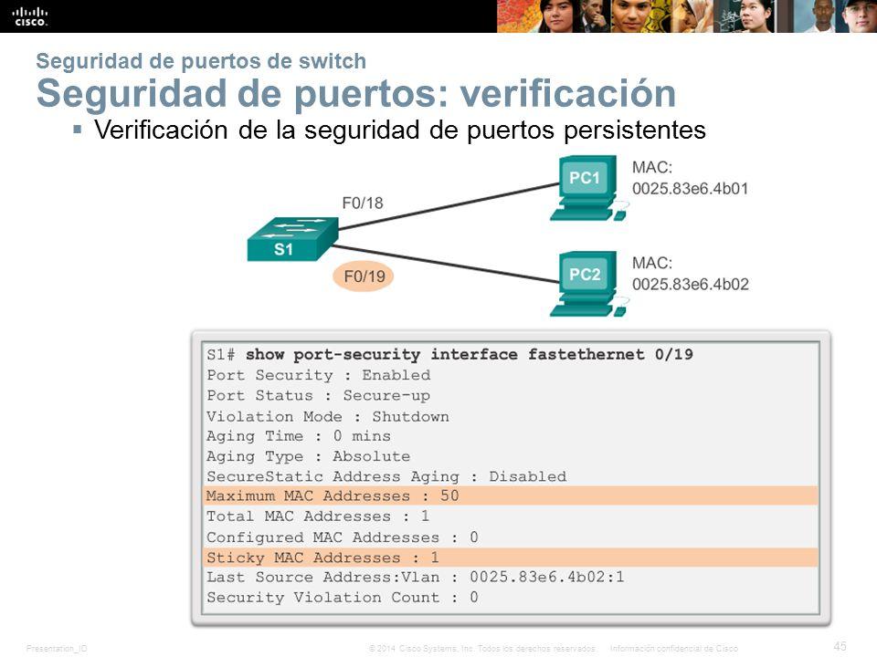 Seguridad de puertos de switch Seguridad de puertos: verificación