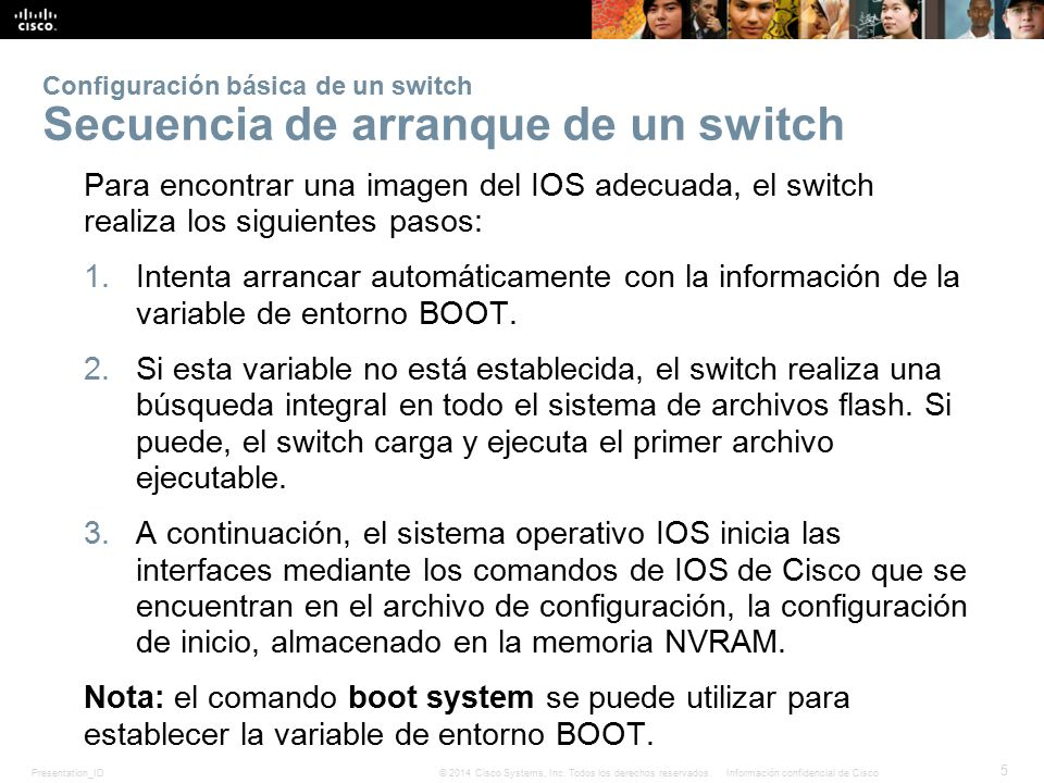 Configuración básica de un switch Secuencia de arranque de un switch