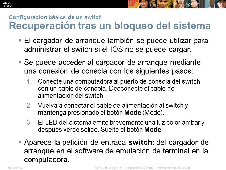 Configuración básica de un switch Recuperación tras un bloqueo del sistema