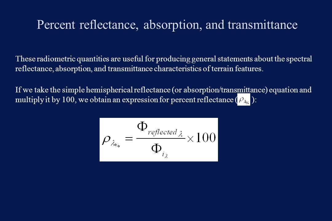 Percent reflectance, absorption, and transmittance
