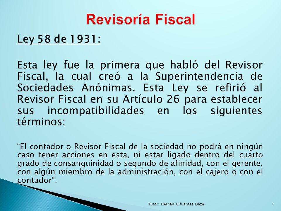 Revisoría Fiscal Ley 58 de 1931: