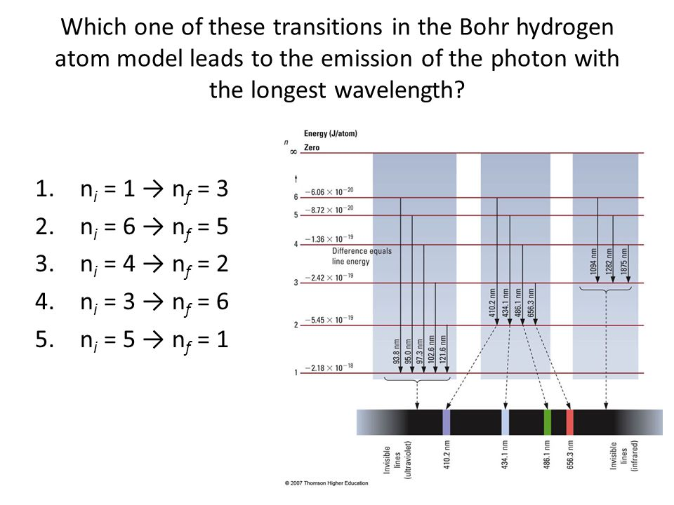Which one of these transitions in the Bohr hydrogen atom model leads to the emission of the photon with the longest wavelength