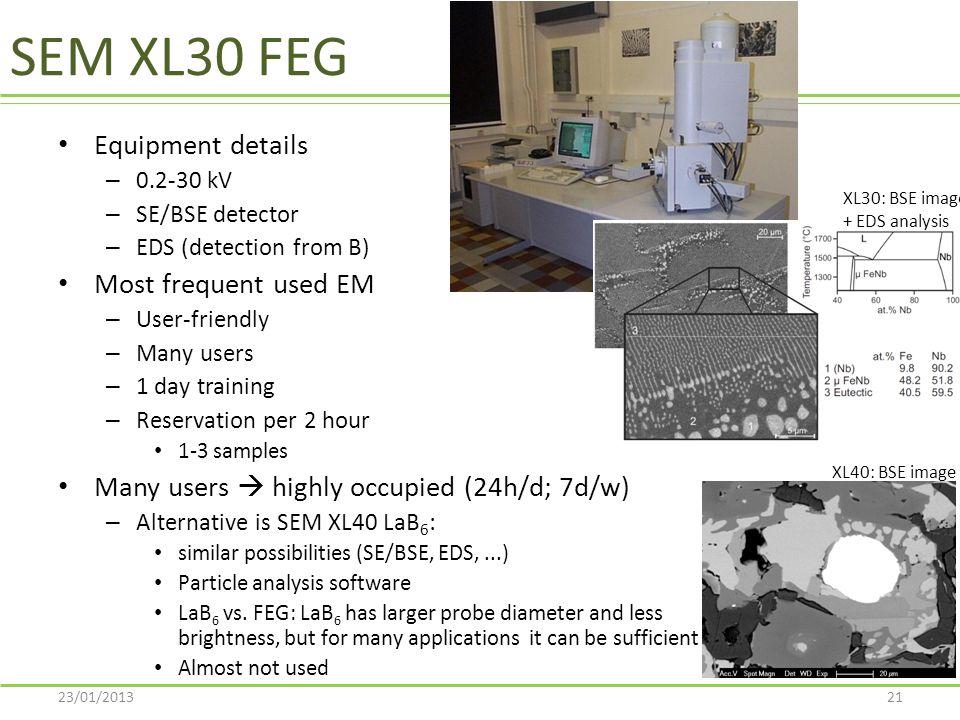 SEM XL30 FEG Equipment details Most frequent used EM