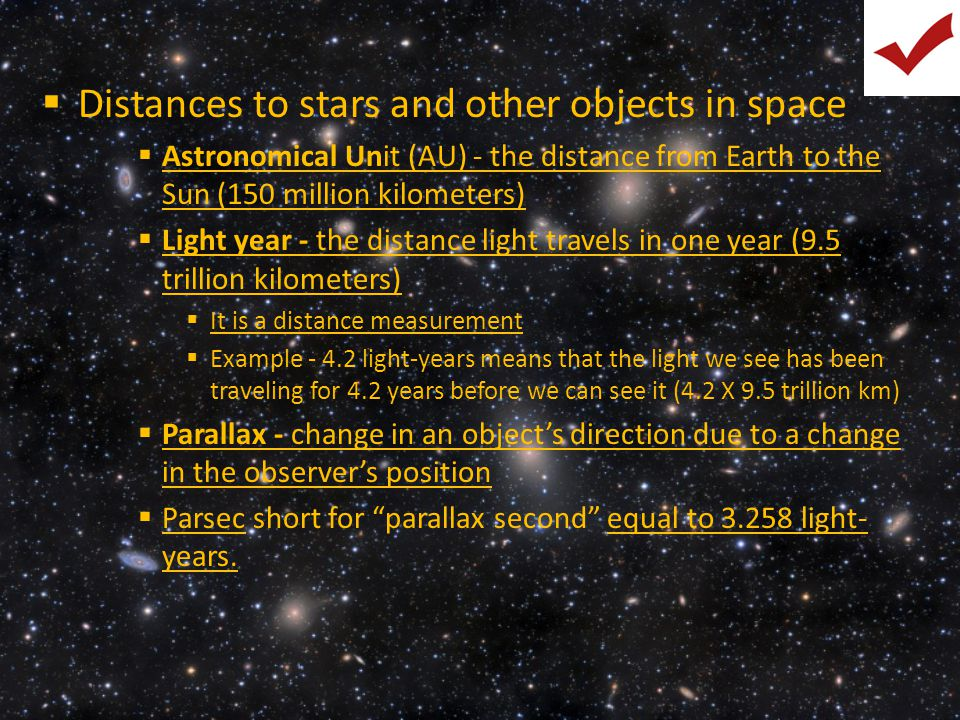Distances to stars and other objects in space