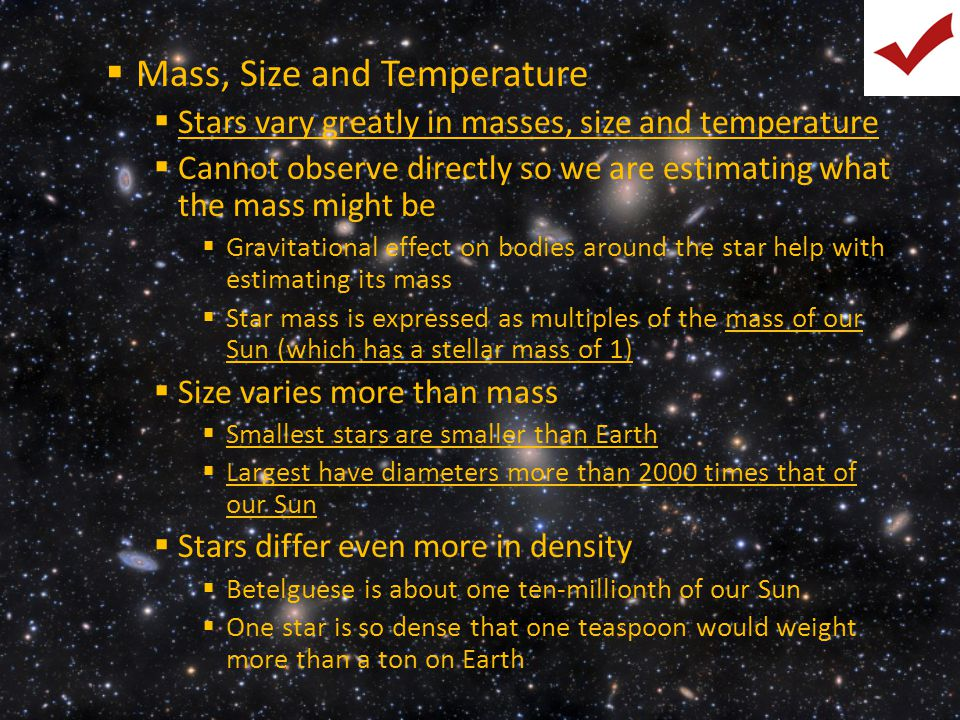 Mass, Size and Temperature