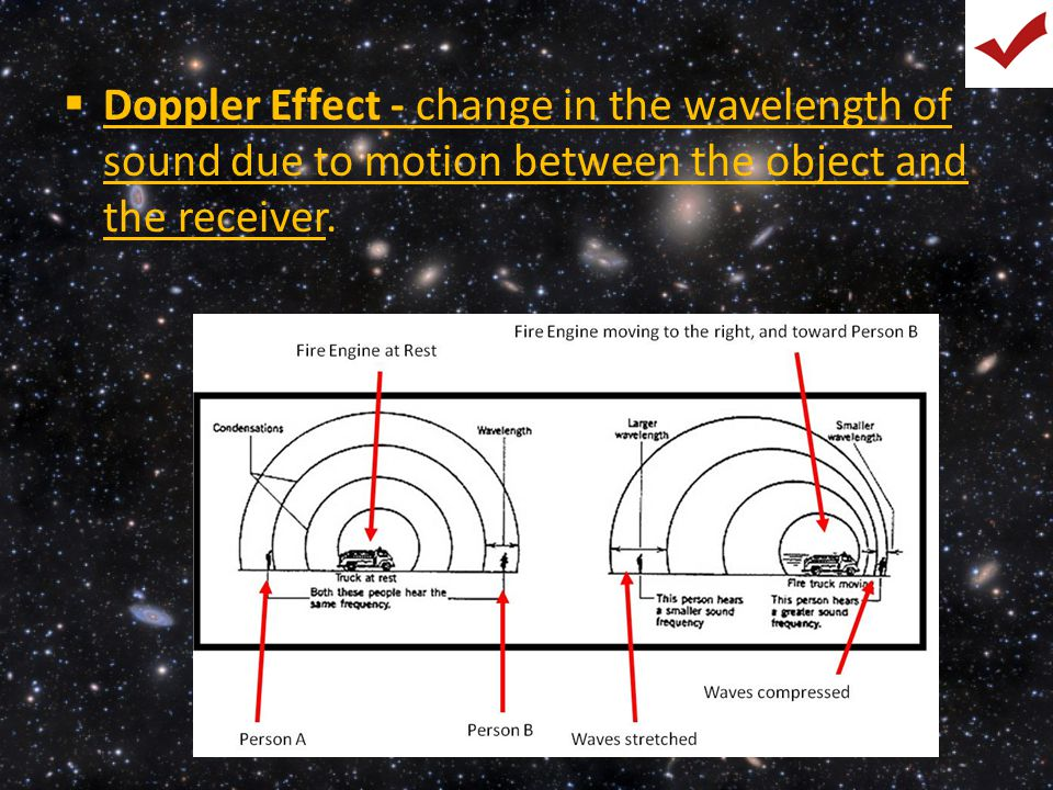 Doppler Effect - change in the wavelength of sound due to motion between the object and the receiver.