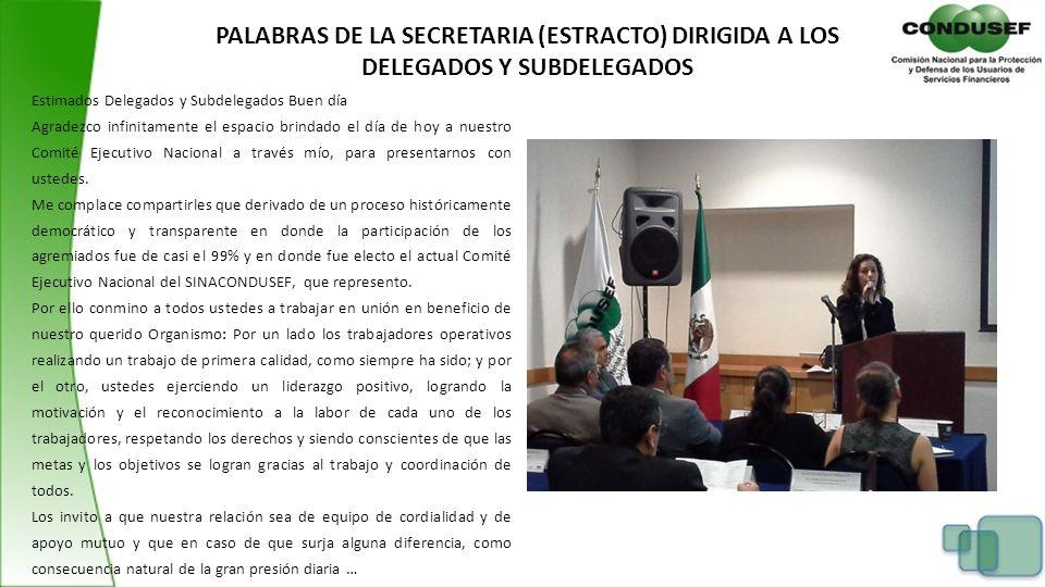 PALABRAS DE LA SECRETARIA (ESTRACTO) DIRIGIDA A LOS