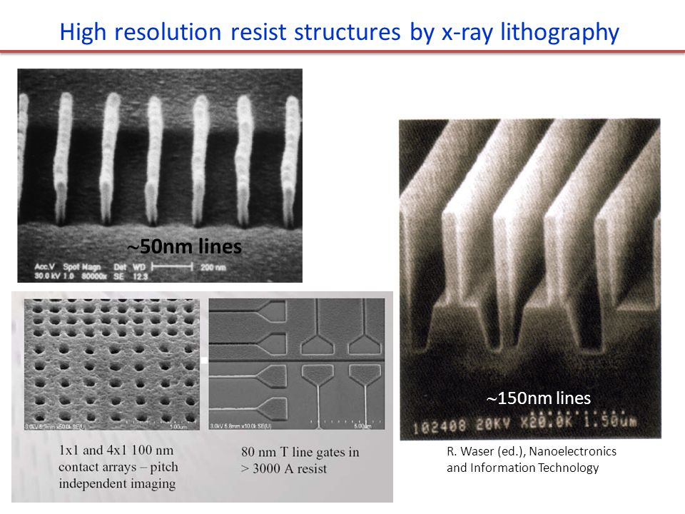 High resolution resist structures by x-ray lithography