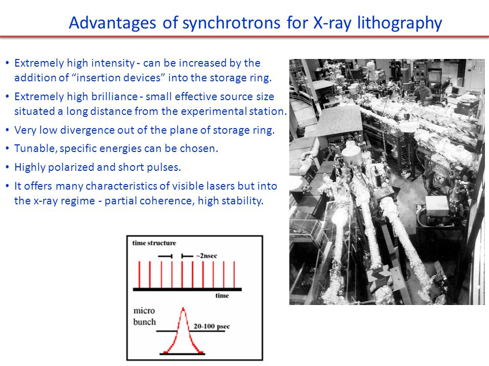 Advantages of synchrotrons for X-ray lithography