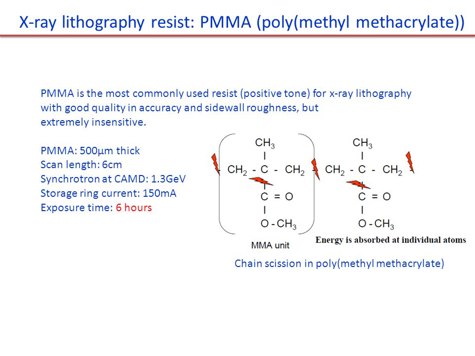 X-ray lithography resist: PMMA (poly(methyl methacrylate))