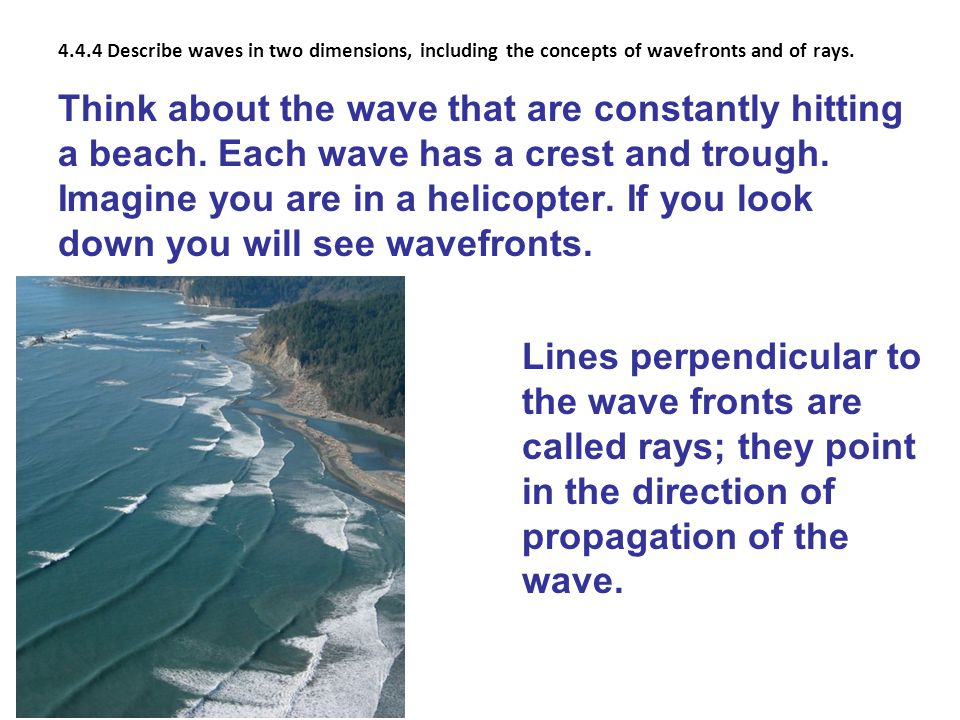4.4.4 Describe waves in two dimensions, including the concepts of wavefronts and of rays.