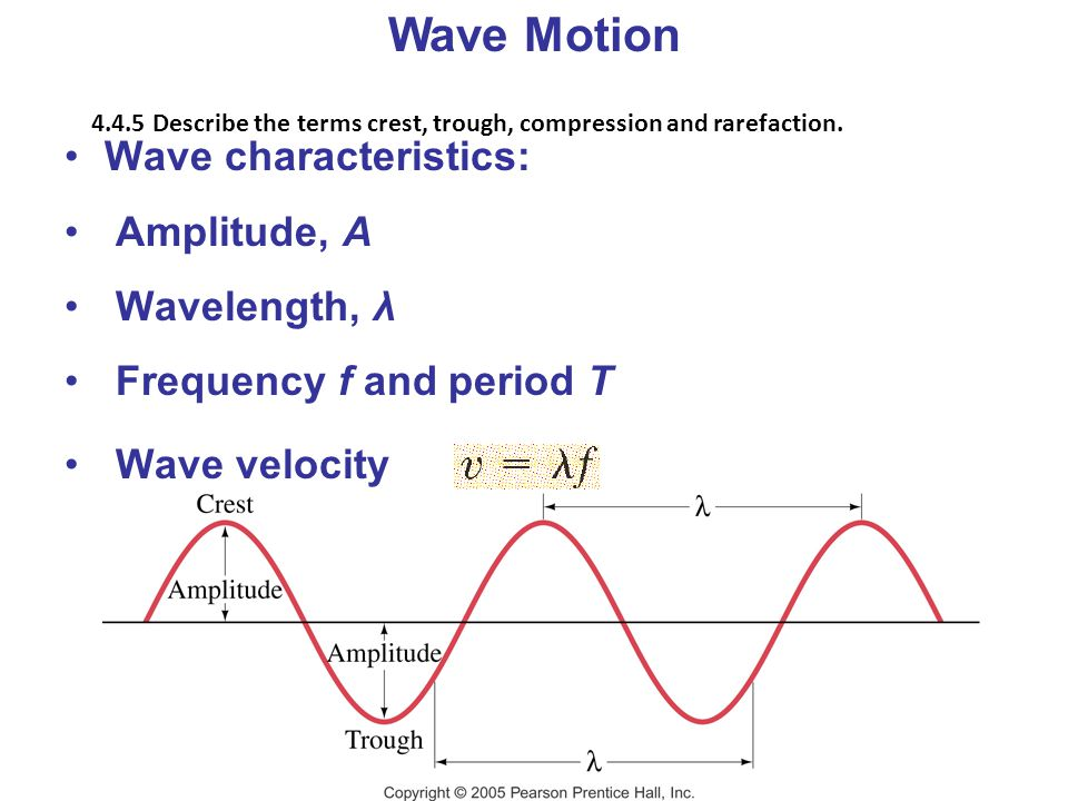 Wave Motion Wave characteristics: Amplitude, A Wavelength, λ