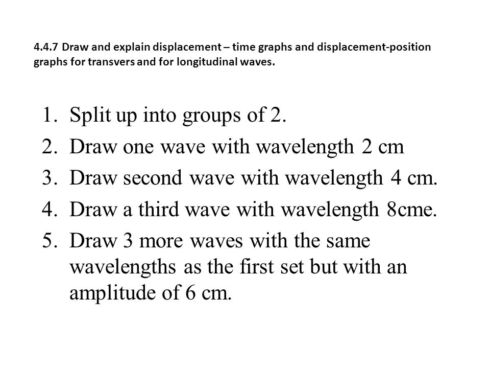 Draw one wave with wavelength 2 cm