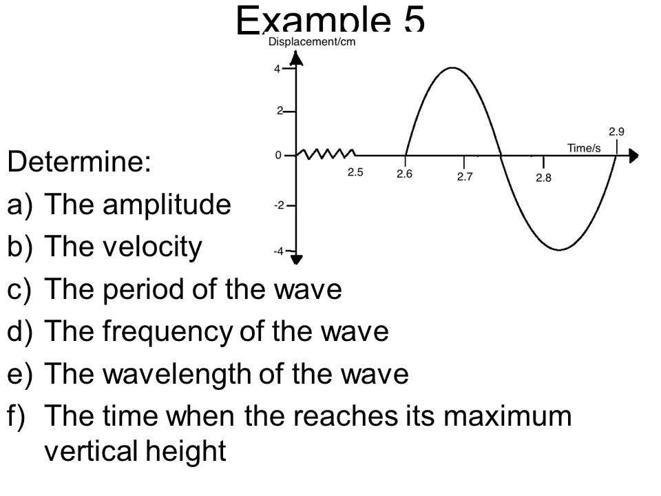 Example 5 Determine: The amplitude The velocity The period of the wave