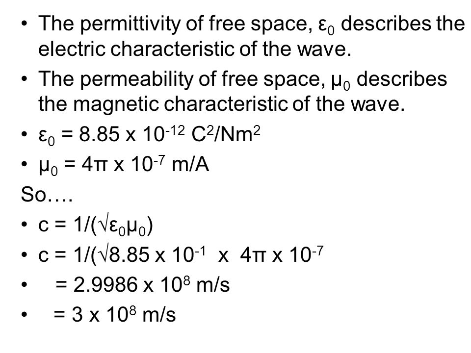 The permittivity of free space, ε0 describes the electric characteristic of the wave.