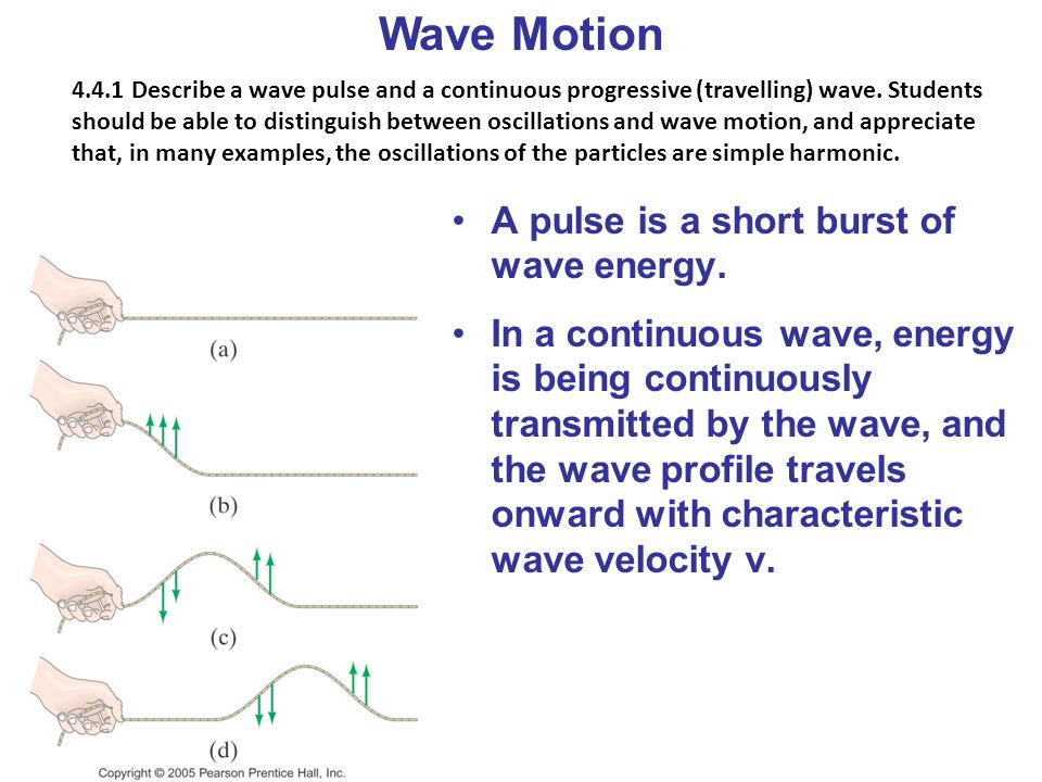 Wave Motion A pulse is a short burst of wave energy.