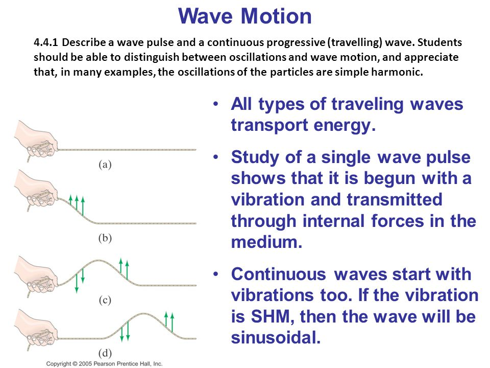Wave Motion All types of traveling waves transport energy.