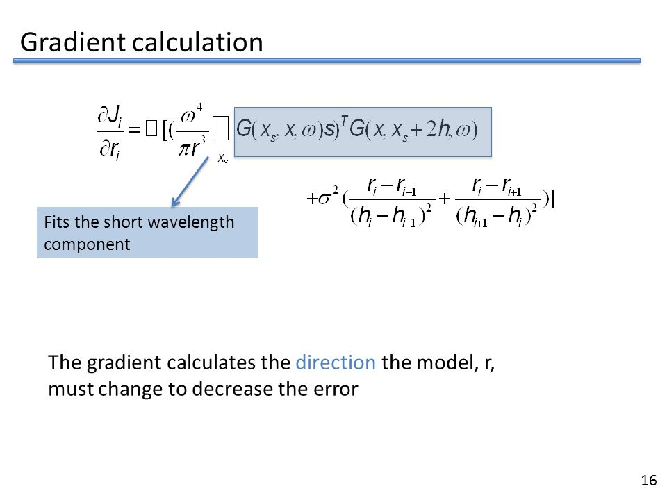 Gradient calculation Fits the short wavelength component. The gradient calculates the direction the model, r,