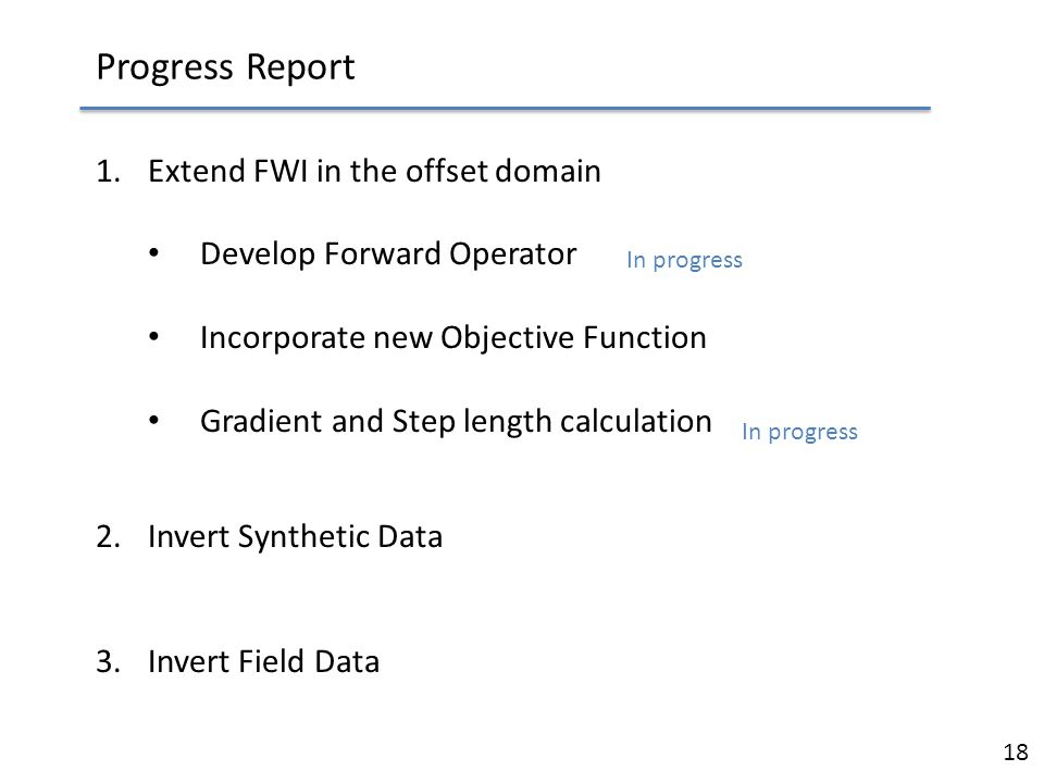 Progress Report Extend FWI in the offset domain