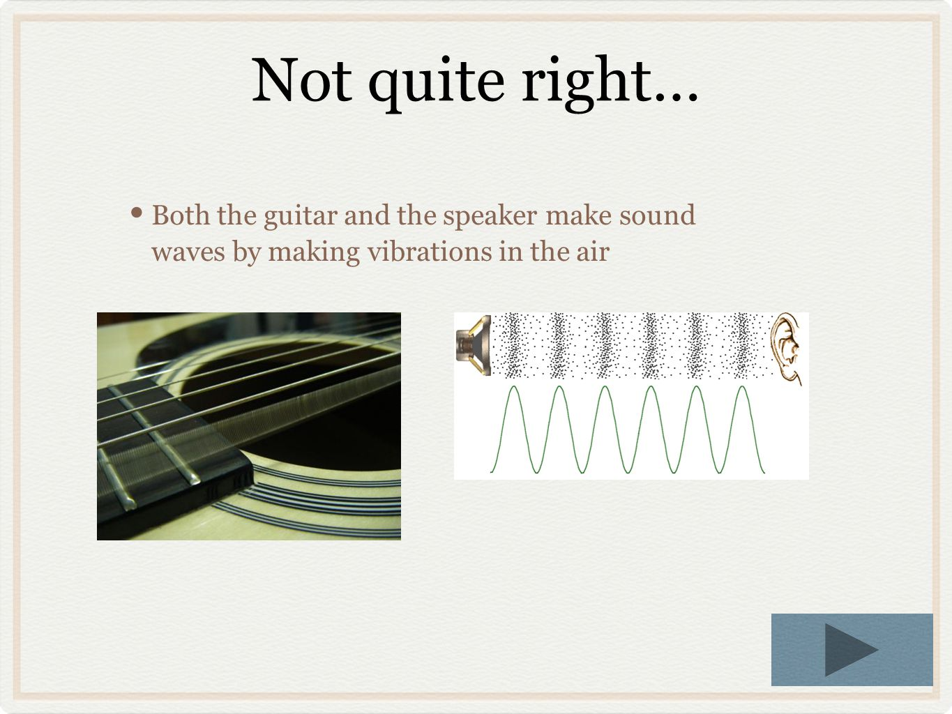 Not quite right… Both the guitar and the speaker make sound waves by making vibrations in the air