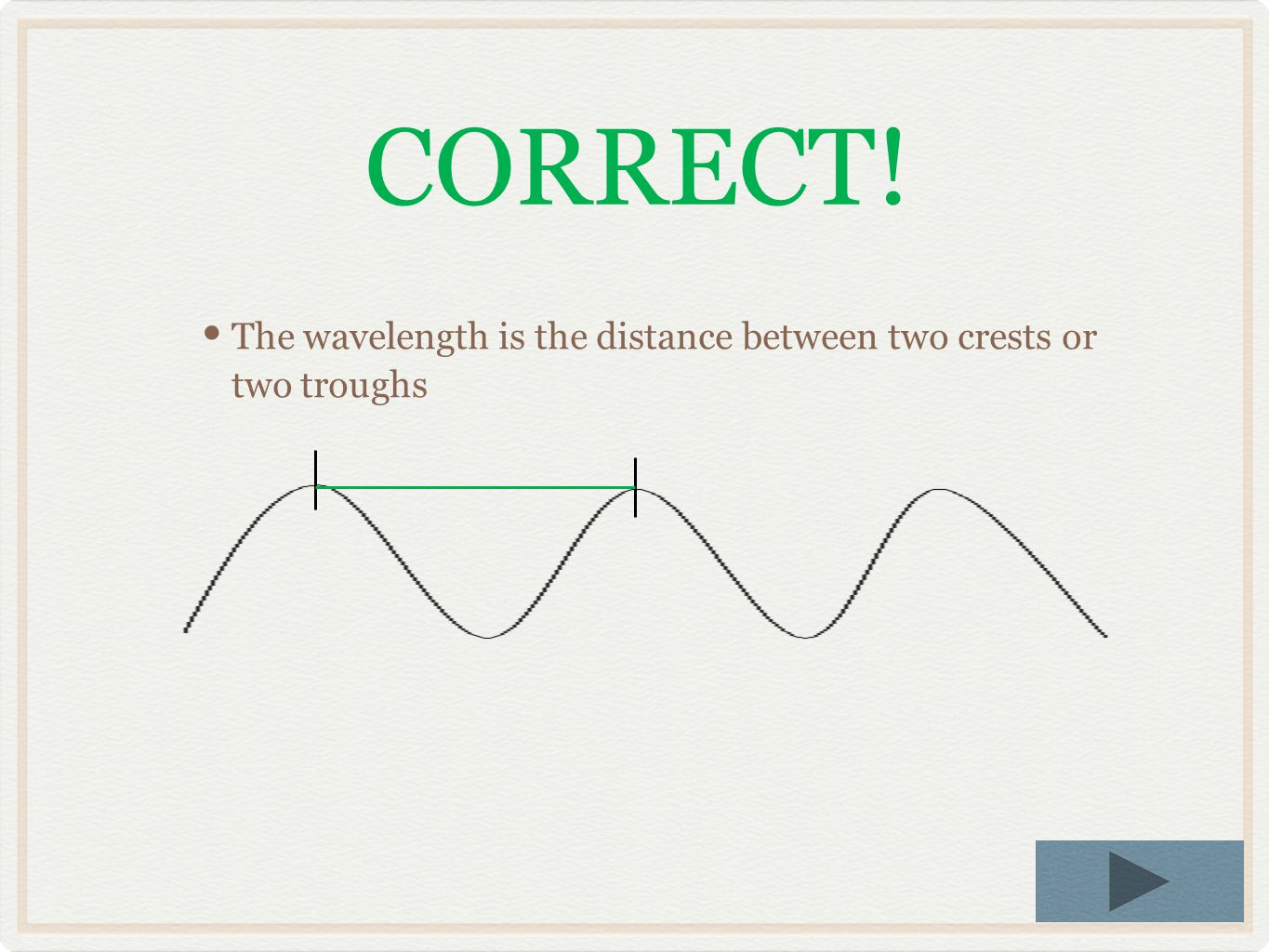 CORRECT! The wavelength is the distance between two crests or two troughs