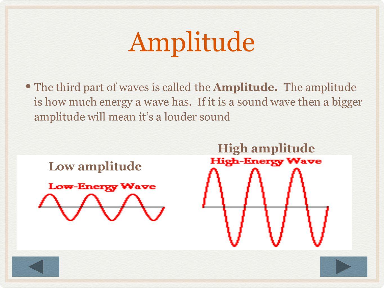 Amplitude High amplitude Low amplitude