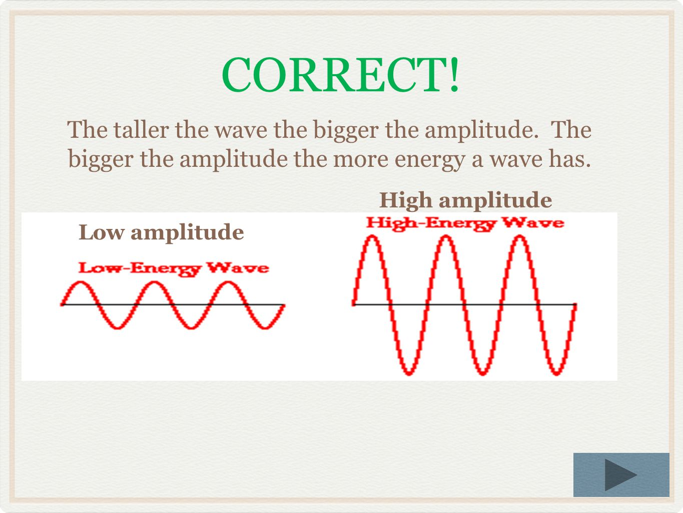 CORRECT! The taller the wave the bigger the amplitude. The bigger the amplitude the more energy a wave has.