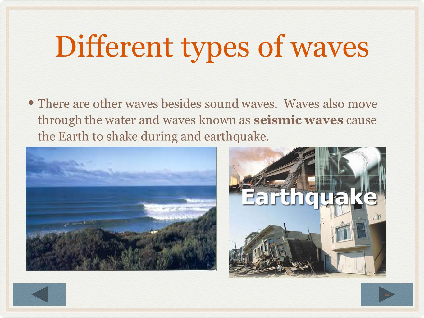 Different types of waves