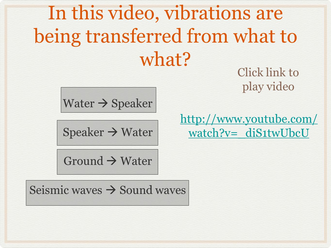 In this video, vibrations are being transferred from what to what