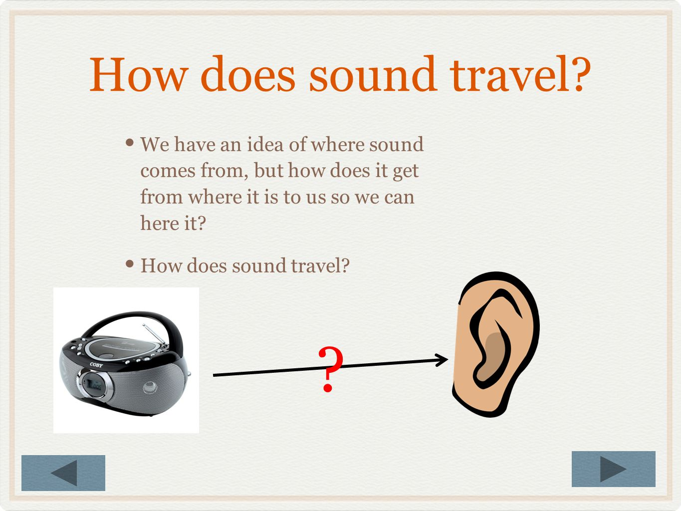 How does sound travel We have an idea of where sound comes from, but how does it get from where it is to us so we can here it