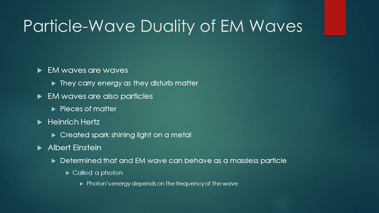 Particle-Wave Duality of EM Waves