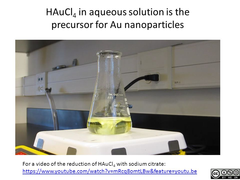 HAuCl4 in aqueous solution is the precursor for Au nanoparticles