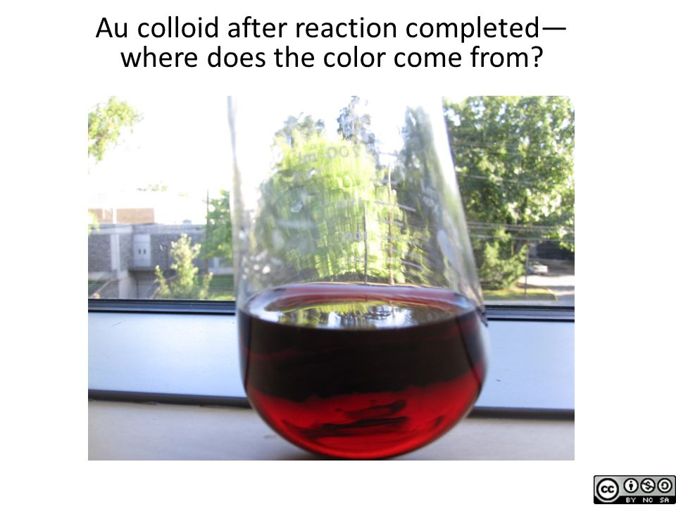 Au colloid after reaction completed—where does the color come from