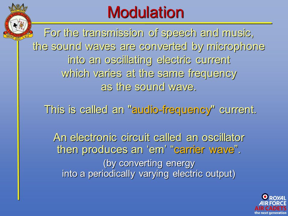 Modulation For the transmission of speech and music,