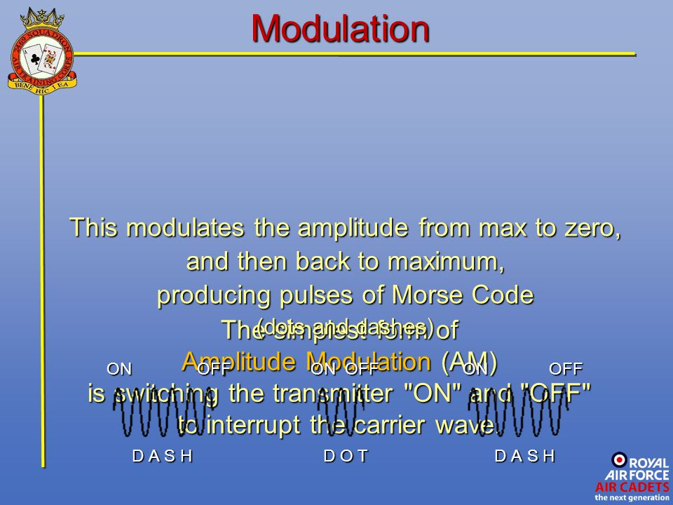 Modulation This modulates the amplitude from max to zero,
